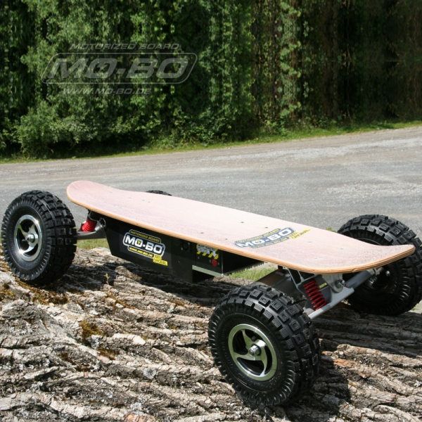 "MO-BO - Elektro-Skateboard ""Classic Wood"" 800 Watt OFF-ROAD, Channel Trucks, 36V, Bleigel 14Ah"